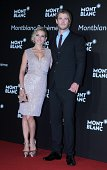 Actor Chris Hemsworth and his wife actress Elsa Pataky attend the Montblanc Boheme Collection launch event at The Peninsula Shanghai on August 28...