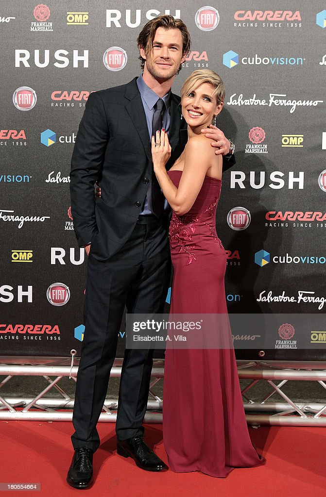 Actor <a gi-track='captionPersonalityLinkClicked' href=/galleries/search?phrase=Chris+Hemsworth&family=editorial&specificpeople=646776 ng-click='$event.stopPropagation()'>Chris Hemsworth</a> and his wife Elsa Pataki attend the 'Rush' premiere at Auditorium della Conciliazione on September 14, 2013 in Rome, Italy.