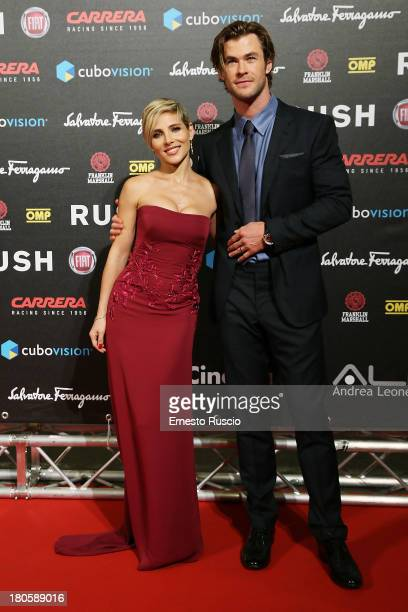 Actor Chris Hemsworth and his wife Elsa Pataki attend the 'Rush' Premiere at Auditorium della Conciliazione on September 14 2013 in Rome Italy
