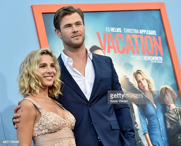Actor Chris Hemsworth and his wife model Elsa Pataky arrive at the premiere of Warner Bros Pictures' 'Vacation' at the Village Theatre on July 27...
