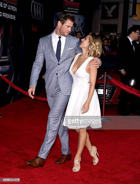 Actor Chris Hemsworth and model Elsa Pataky attend the premiere of Marvel's 'Avengers Age Of Ultron' at Dolby Theatre on April 13 2015 in Hollywood...