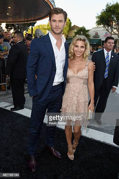 Actor Chris Hemsworth and model Elsa Pataky attend the premiere of Warner Bros Pictures 'Vacation' at Regency Village Theatre on July 27 2015 in...