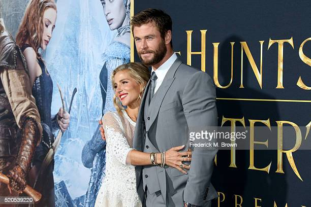 Actor Chris Hemsworth and model Elsa Pataky attend the premiere of Universal Pictures' 'The Huntsman Winter's War' at the Regency Village Theatre on...