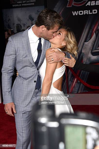 Actor Chris Hemsworth and model Elsa Pataky attends the premiere of Marvel's 'Avengers Age Of Ultron' at Dolby Theatre on April 13 2015 in Hollywood...