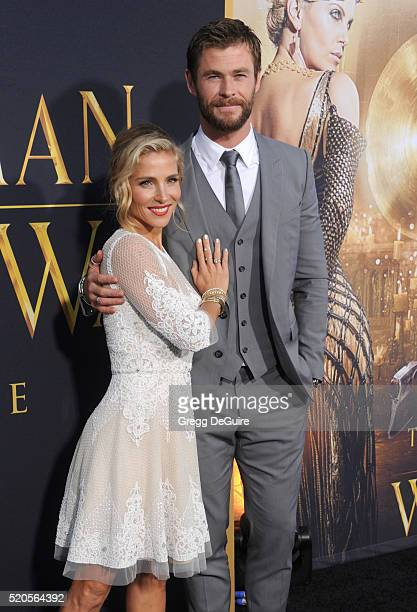Actor Chris Hemsworth and wife Elsa Pataky arrive at the premiere of Universal Pictures' 'The Huntsman Winter's War' on April 11 2016 in Westwood...