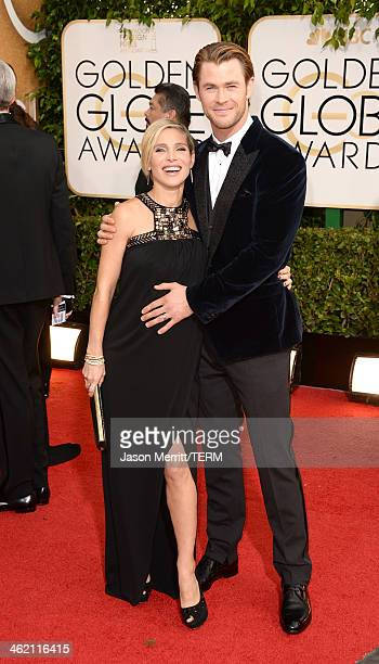 Actor Chris Hemsworth and wife Elsa Pataky attend the 71st Annual Golden Globe Awards held at The Beverly Hilton Hotel on January 12 2014 in Beverly...