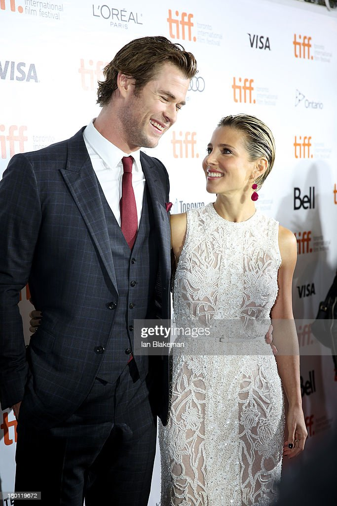 Actor <a gi-track='captionPersonalityLinkClicked' href=/galleries/search?phrase=Chris+Hemsworth&family=editorial&specificpeople=646776 ng-click='$event.stopPropagation()'>Chris Hemsworth</a> and wife <a gi-track='captionPersonalityLinkClicked' href=/galleries/search?phrase=Elsa+Pataky&family=editorial&specificpeople=242789 ng-click='$event.stopPropagation()'>Elsa Pataky</a> attend the 'Rush' premiere during the 2013 Toronto International Film Festival at Roy Thomson Hall on September 8, 2013 in Toronto, Canada.