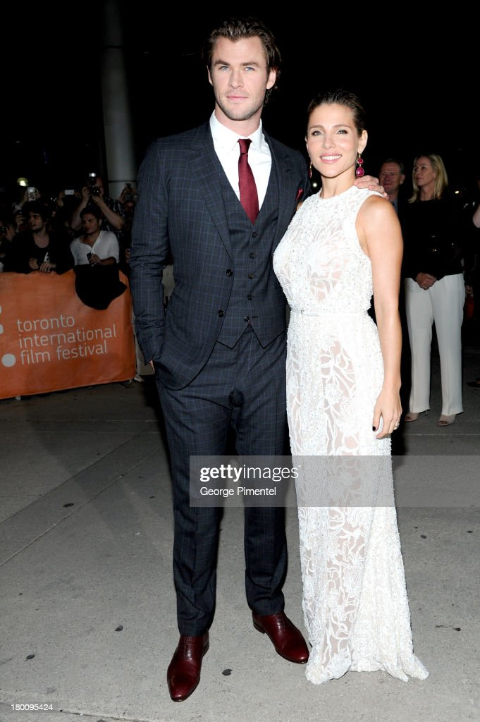 Actor <a gi-track='captionPersonalityLinkClicked' href=/galleries/search?phrase=Chris+Hemsworth&family=editorial&specificpeople=646776 ng-click='$event.stopPropagation()'>Chris Hemsworth</a> and wife <a gi-track='captionPersonalityLinkClicked' href=/galleries/search?phrase=Elsa+Pataky&family=editorial&specificpeople=242789 ng-click='$event.stopPropagation()'>Elsa Pataky</a> attends the 'Rush' premiere during the 2013 Toronto International Film Festival at Roy Thomson Hall on September 8, 2013 in Toronto, Canada.