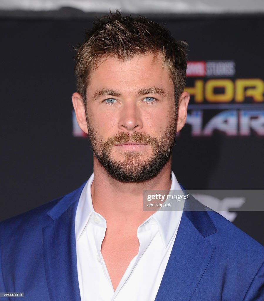 Actor Chris Hemsworth arrives at the Los Angeles Premiere 'Thor: Ragnarok' on October 10, 2017 in Hollywood, California.