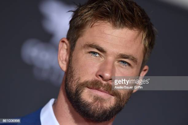 Actor Chris Hemsworth arrives at the premiere of Disney and Marvel's 'Thor Ragnarok' at the El Capitan Theatre on October 10 2017 in Los Angeles...