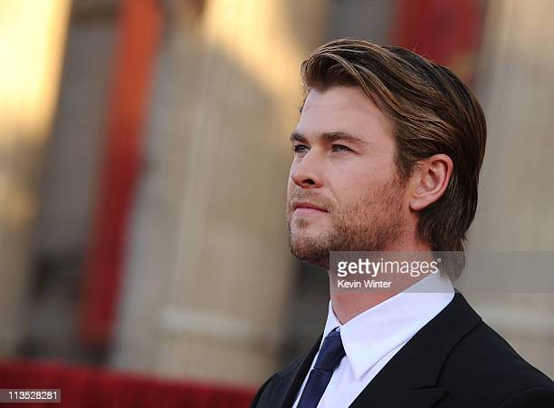 Actor Chris Hemsworth arrives at the premiere of Paramount Pictures' and Marvel's 'Thor' held at the El Capitan Theatre on May 2 2011 in Los Angeles...