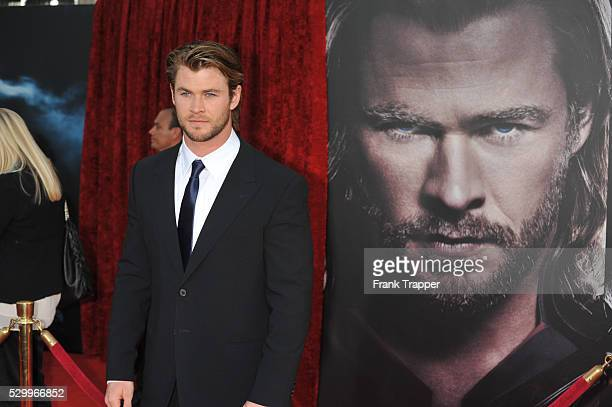 Actor Chris Hemsworth arrives at the premiere of 'Thor' held at the El Capitan Theater in Hollywood