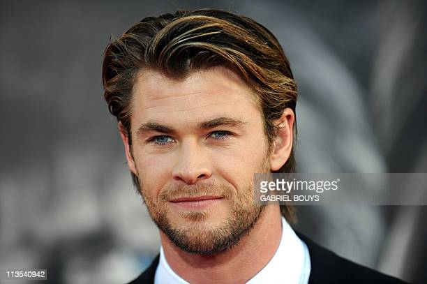 Actor Chris Hemsworth arrives at the premiere of Thor in Hollywood California on May 2 2011 AFP PHOTO / GABRIEL BOUYS