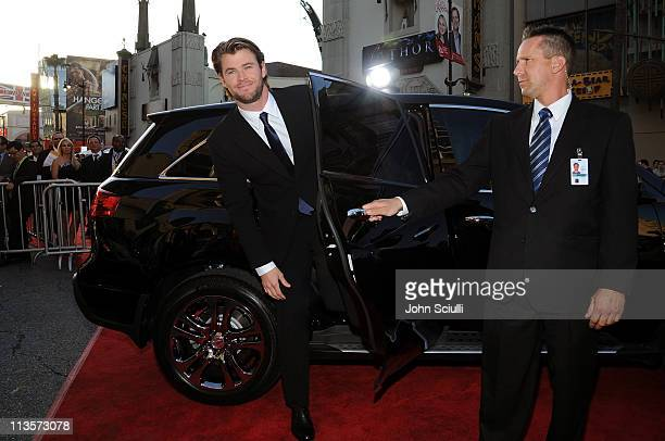 Actor Chris Hemsworth arrives to the 'Thor' premiere featuring SHIELD edition Acura on May 2 2011 in Hollywood California