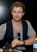 Actor Chris Hemsworth attends Marvel's 'Avengers Age Of Ultron' Hall H Panel Booth Signing during ComicCon International 2014 at San Diego Convention...