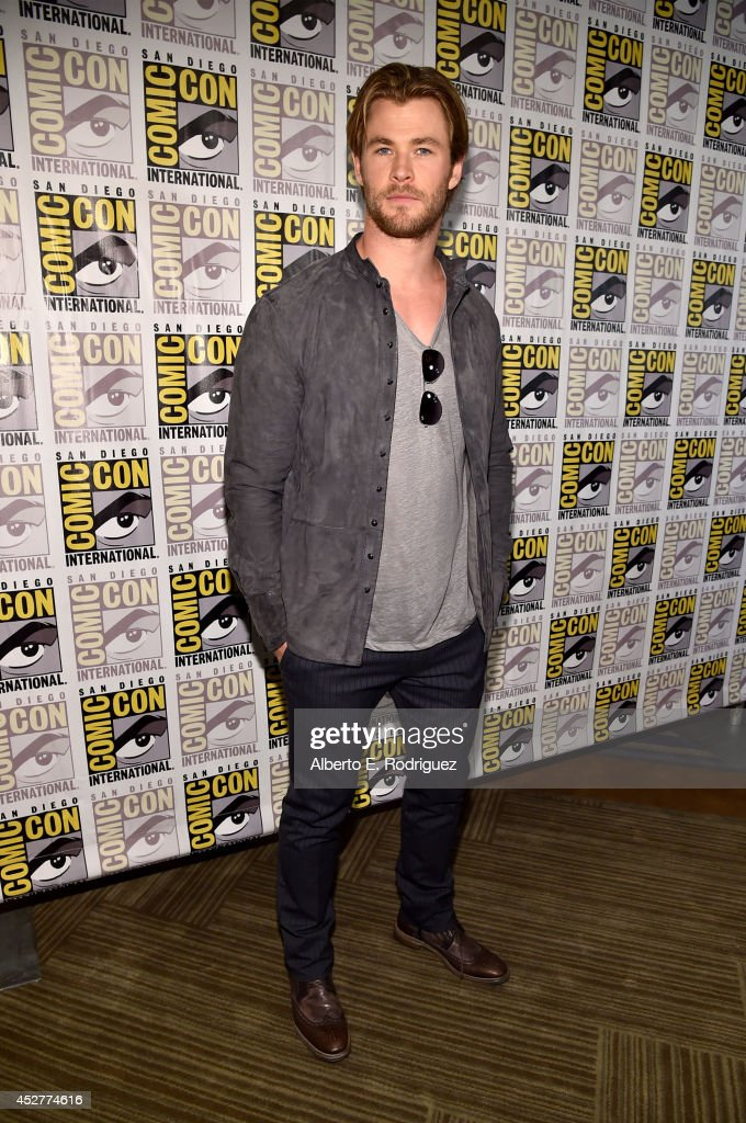 Actor Chris Hemsworth attends Marvel's Hall H Press Line for 'AntMan' and 'Avengers Age Of Ultron' during ComicCon International 2014 at San Diego...