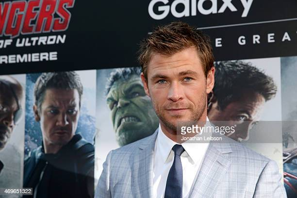 Actor Chris Hemsworth attends Samsung celebrates the release of 'Avengers Age Of Ultron' at Dolby Theatre on April 13 2015 in Hollywood California