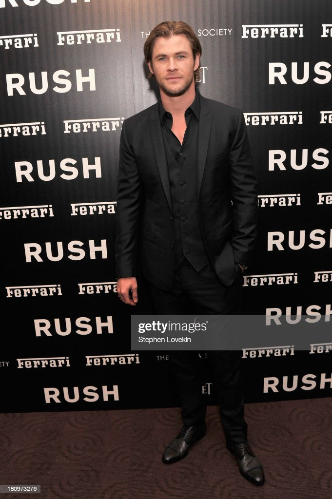 Actor <a gi-track='captionPersonalityLinkClicked' href=/galleries/search?phrase=Chris+Hemsworth&family=editorial&specificpeople=646776 ng-click='$event.stopPropagation()'>Chris Hemsworth</a> attends the Ferrari and The Cinema Society Screening of 'Rush' at Chelsea Clearview Cinemas on September 18, 2013 in New York City.