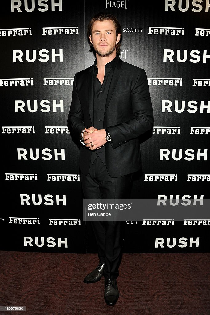 Actor <a gi-track='captionPersonalityLinkClicked' href=/galleries/search?phrase=Chris+Hemsworth&family=editorial&specificpeople=646776 ng-click='$event.stopPropagation()'>Chris Hemsworth</a> attends the Ferrari & The Cinema Society screening of 'Rush' at Chelsea Clearview Cinemas on September 18, 2013 in New York City.