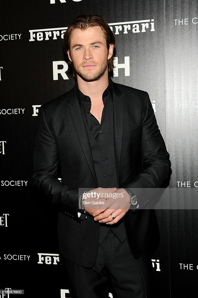 Actor Chris Hemsworth attends the Ferrari & The Cinema Society screening of 'Rush' at Chelsea Clearview Cinemas on September 18, 2013 in New York City.