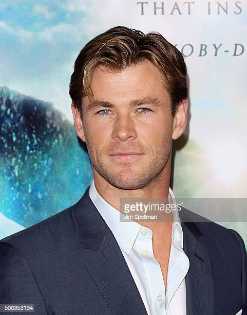 Actor Chris Hemsworth attends the 'In The Heart Of The Sea' New York premiere at Frederick P Rose Hall Jazz at Lincoln Center on December 7 2015 in...