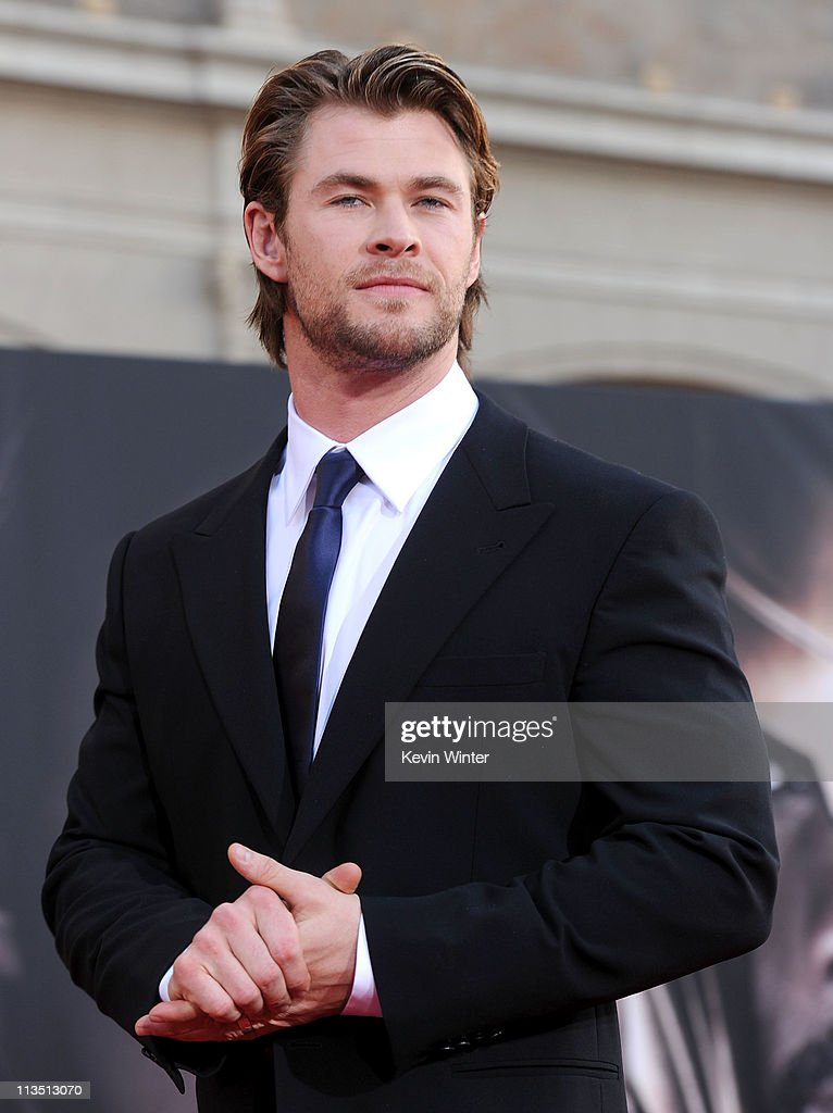 Actor <a gi-track='captionPersonalityLinkClicked' href=/galleries/search?phrase=Chris+Hemsworth&family=editorial&specificpeople=646776 ng-click='$event.stopPropagation()'>Chris Hemsworth</a> attends the premiere of Paramount Pictures' and Marvel's 'Thor' held at the El Capitan Theatre on May 2, 2011 in Los Angeles, California.
