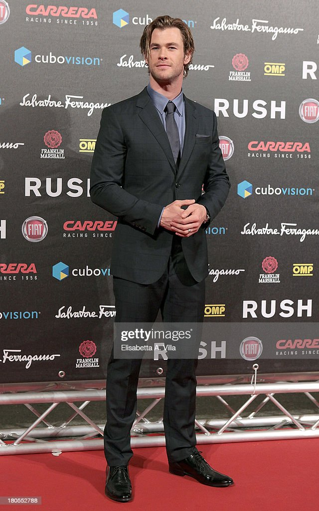Actor <a gi-track='captionPersonalityLinkClicked' href=/galleries/search?phrase=Chris+Hemsworth&family=editorial&specificpeople=646776 ng-click='$event.stopPropagation()'>Chris Hemsworth</a> attends the 'Rush' premiere at Auditorium della Conciliazione on September 14, 2013 in Rome, Italy.