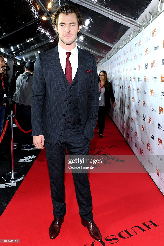 Actor <a gi-track='captionPersonalityLinkClicked' href=/galleries/search?phrase=Chris+Hemsworth&family=editorial&specificpeople=646776 ng-click='$event.stopPropagation()'>Chris Hemsworth</a> attends the 'Rush' premiere during the 2013 Toronto International Film Festival at Roy Thomson Hall on September 8, 2013 in Toronto, Canada.