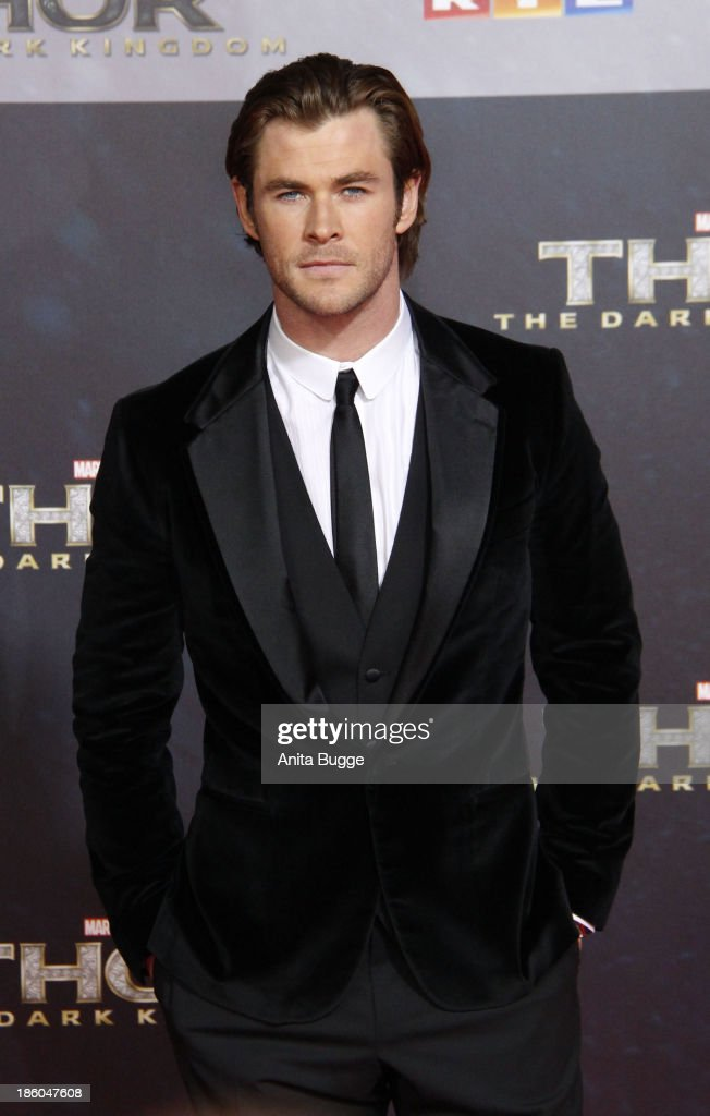 Actor Chris Hemsworth attends the 'Thor: The Dark World' Germany premiere at Cinestar on October 27, 2013 in Berlin, Germany.