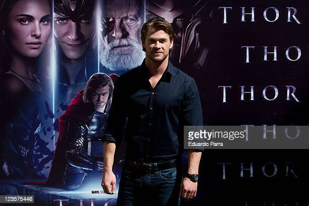 Actor Chris Hemsworth attends 'Thor' photocall at Hotel Santo Mauro on April 14 2011 in Madrid Spain