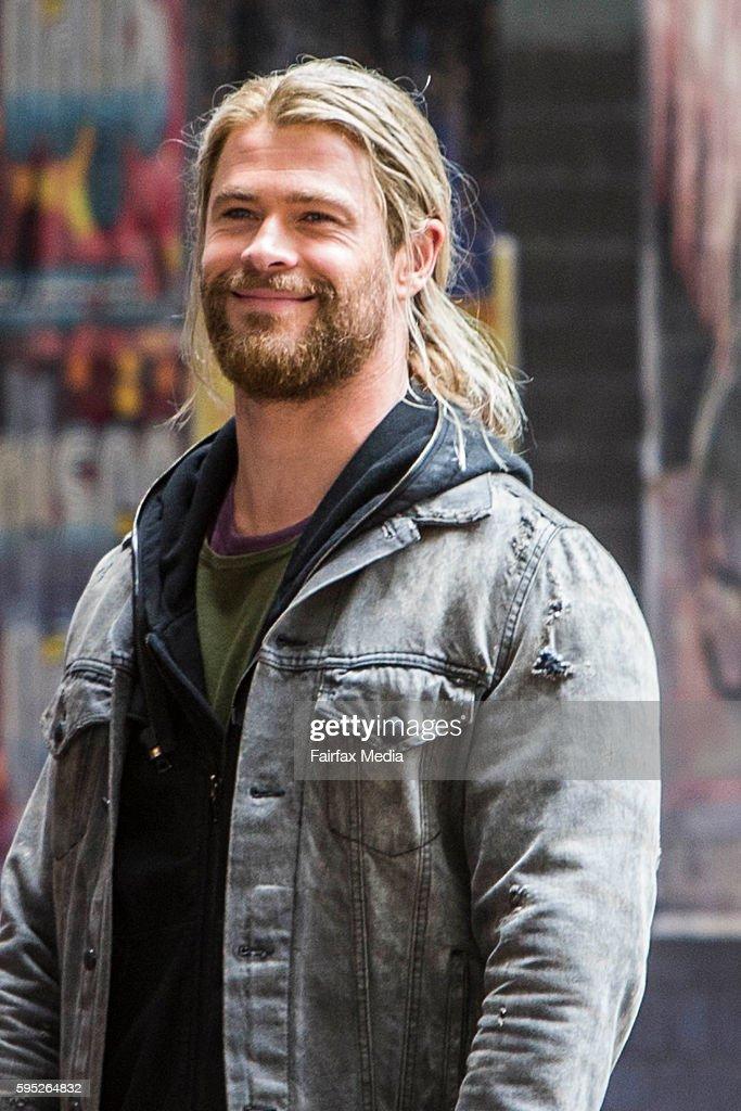Actor Chris Hemsworth is seen on the set of the film 'Thor Ragnarok' on August 23 2016 in Brisbane Australia