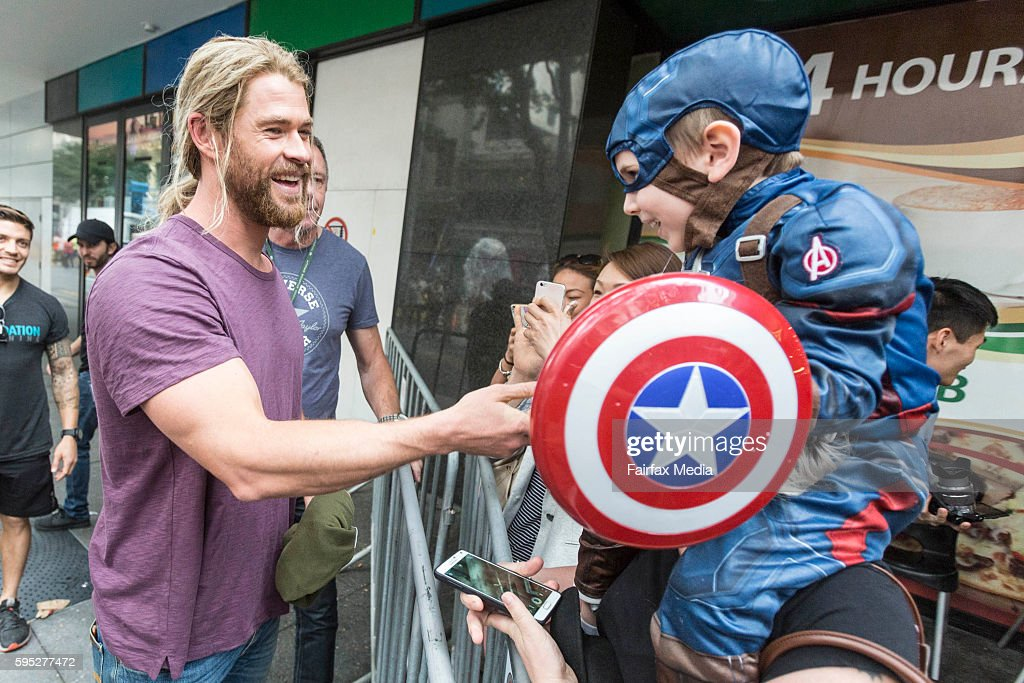 Actor Chris Hemsworth is seen taking a break from filming to mingle with fans on the set of the film 'Thor Ragnarok' on August 23 2016 in Brisbane...