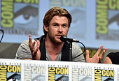 Actor Chris Hemsworth onstage at Marvel's Hall H Panel for 'Avengers Age Of Ultron' during ComicCon International 2014 at San Diego Convention Center...