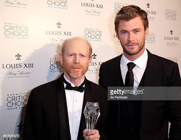 Actor Chris Hemsworth with director Ron Howard winner of the Critics' Choice LOUIS XIII Genius Award during the 20th annual Critics' Choice Movie...