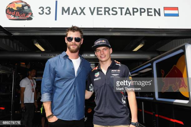 Actor Chris Hemsworth with Max Verstappen of Netherlands and Red Bull Racing during the Monaco Formula One Grand Prix at Circuit de Monaco on May 28...