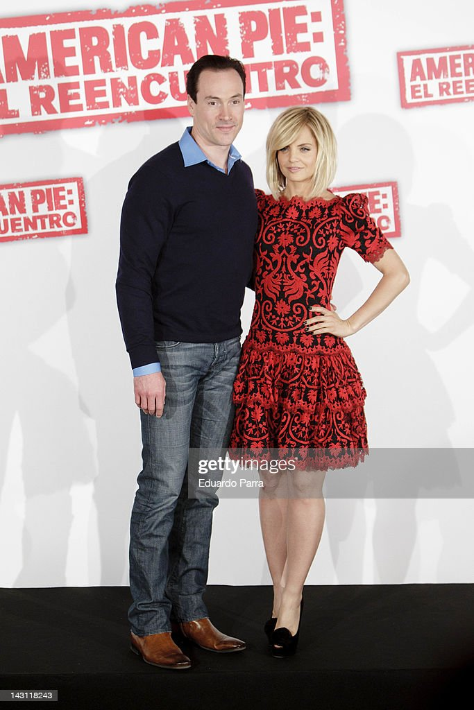 Actor Chris Klein and actress Mena Suvari attend 'American Pie: Reunion' (American Pie: El Reencuentro) photocall at Villamagna Hotel on April 19, 2012 in Madrid, Spain.