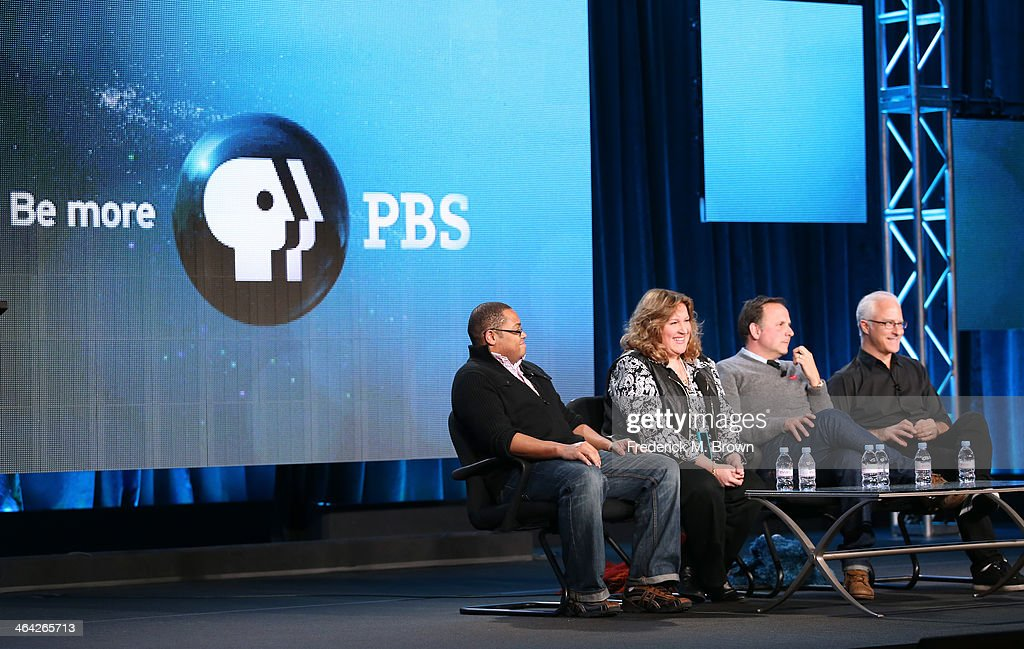 Actor Chris Knowings executive Producer CarolLynn Parente actor/head writer Joey Mazzarino and actor David Rudman speak onstage during the 'PBS Kids...