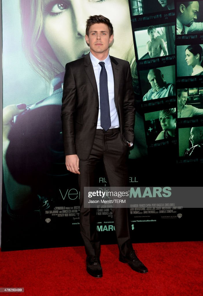 Actor Chris Lowell arrives at the Los Angeles premiere of 'Veronica Mars' at TCL Chinese Theatre on March 12, 2014 in Hollywood, California.