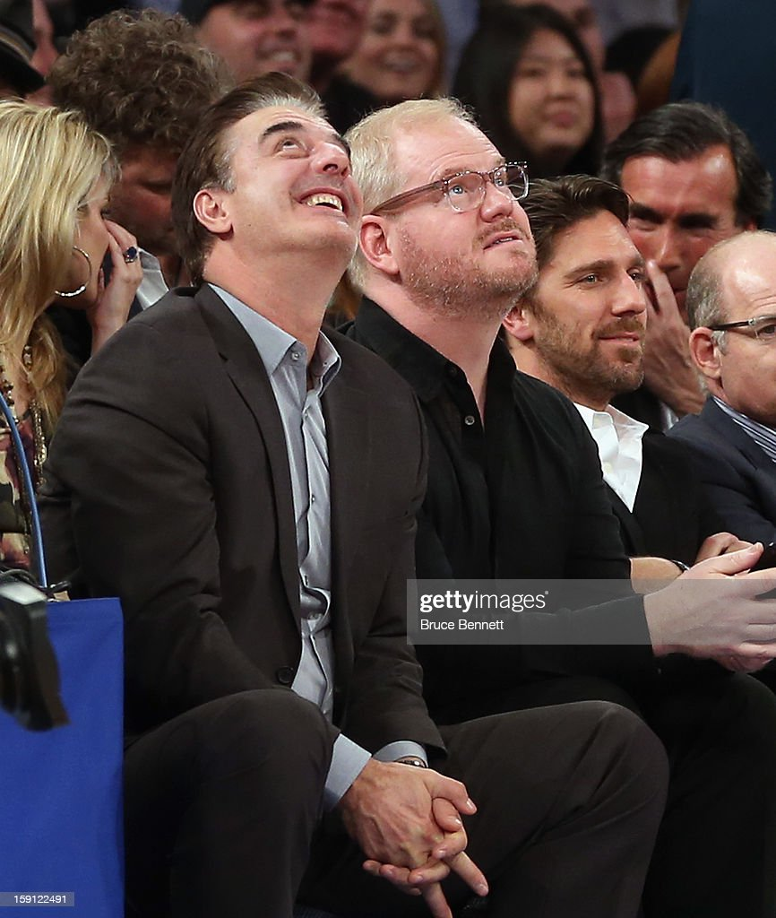 Actor Chris Noth and comedian Jim Gaffigan take in the game between the New York Knicks and the Boston Celtics at Madison Square Garden on January 7, 2013 in New York City.