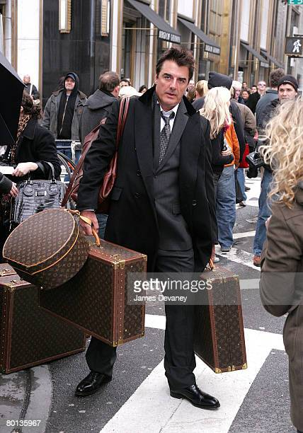 Actor Chris Noth on location for Annie Leibowitz's Vogue 'Sex and the City' photo shoot March 5 2008 in New York City