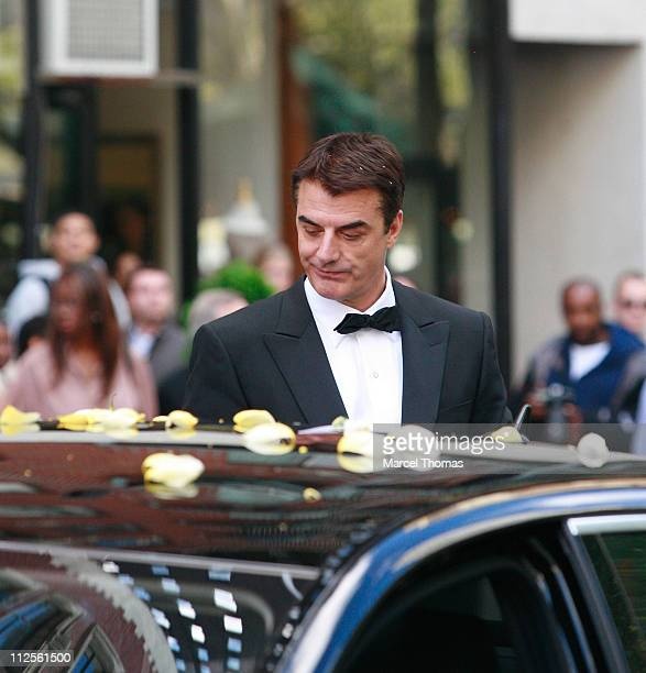 Actor Chris Noth on the set of 'Sex and the City The Movie' in Midtown Manhattan on October 12 2007 in New York City New York