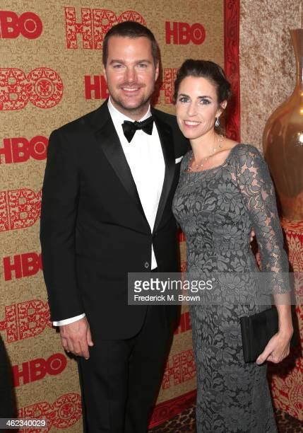Actor Chris O'Donnell and Caroline Fentress attend HBO's Post 2014 Golden Globe Awards Party held at Circa 55 Restaurant on January 12 2014 in Los...