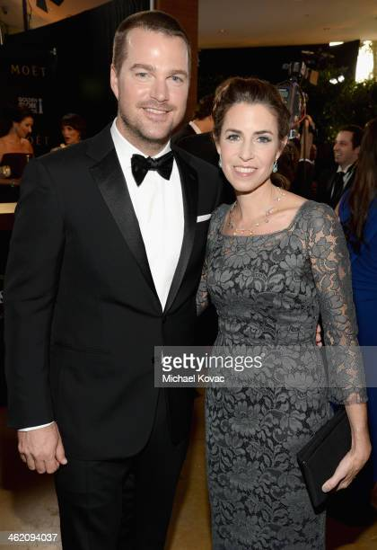Actor Chris O'Donnell and Caroline Fentress attend the 71st Annual Golden Globe Awards with Moet Chandon held at the Beverly Hilton Hotel on January...