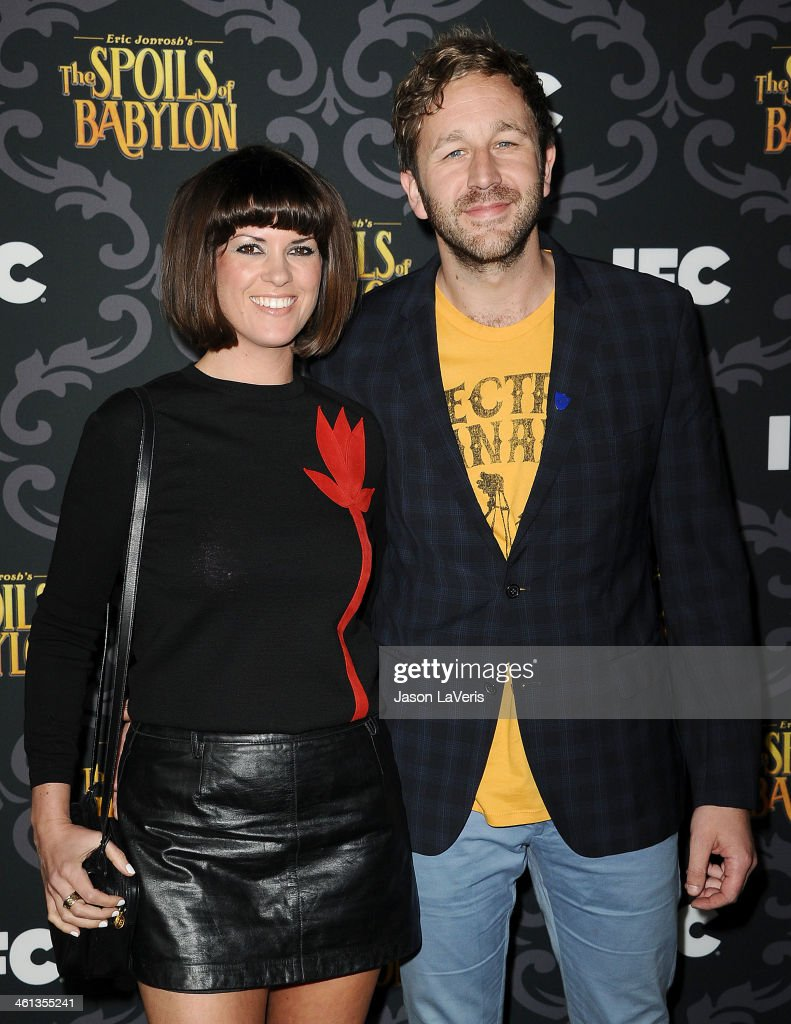 Actor Chris O'Dowd (R) and wife Dawn Porter attend the premiere of IFC's 'The Spoils Of Babylon' at DGA Theater on January 7, 2014 in Los Angeles, California.