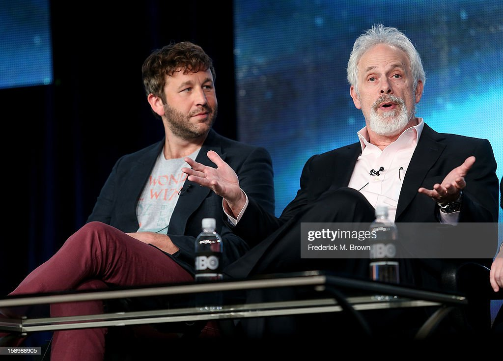Actor Chris O'Dowd (L) and Writer, Director, Executive Producer Christopher Guest speak onstage during the 'Family Tree' panel discussion at the HBO portion of the 2013 Winter TCA Tourduring 2013 Winter TCA Tour - Day 1 at Langham Hotel on January 4, 2013 in Pasadena, California.