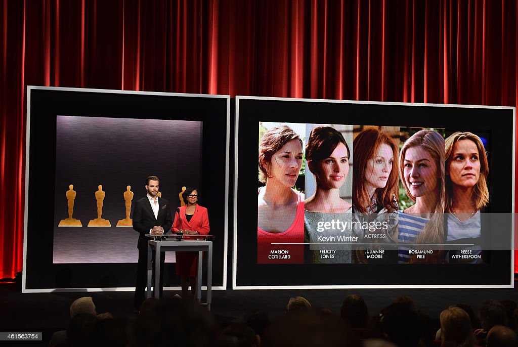 Actor Chris Pine and Academy President Cheryl Boone Isaacs announce the nominees for Best Actress in a Leading Role at the 87th Academy Awards...
