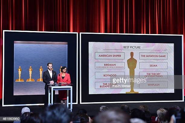 Actor Chris Pine and Academy President Cheryl Boone Isaacs announce the nominees for Best Picture at the 87th Academy Awards Nominations Announcement...