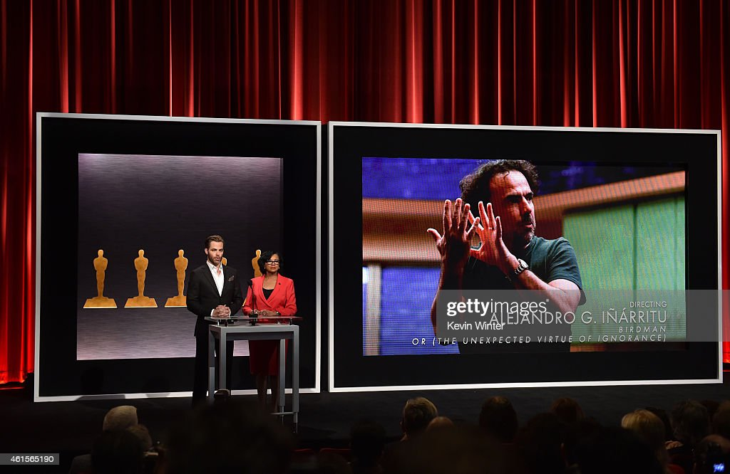 Actor Chris Pine and Academy President Cheryl Boone Isaacs announce Alejandro G Iñárritu as a nominee for Best Achievement in Directing in the film...