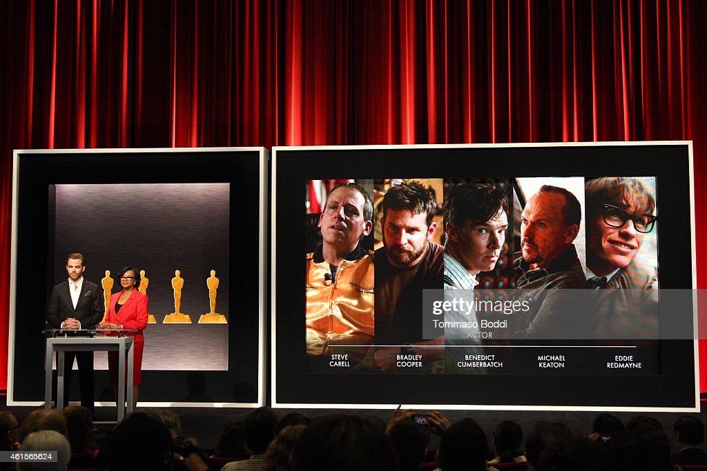 Actor Chris Pine and Academy President Cheryl Boone Isaacs announce the nominees for Best Actor in a Leading Role at the 87th Academy Awards...