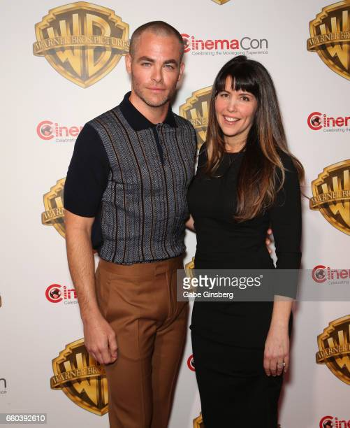 Actor Chris Pine and director Patty Jenkins attend the Warner Bros Pictures presentation during CinemaCon at The Colosseum at Caesars Palace on March...